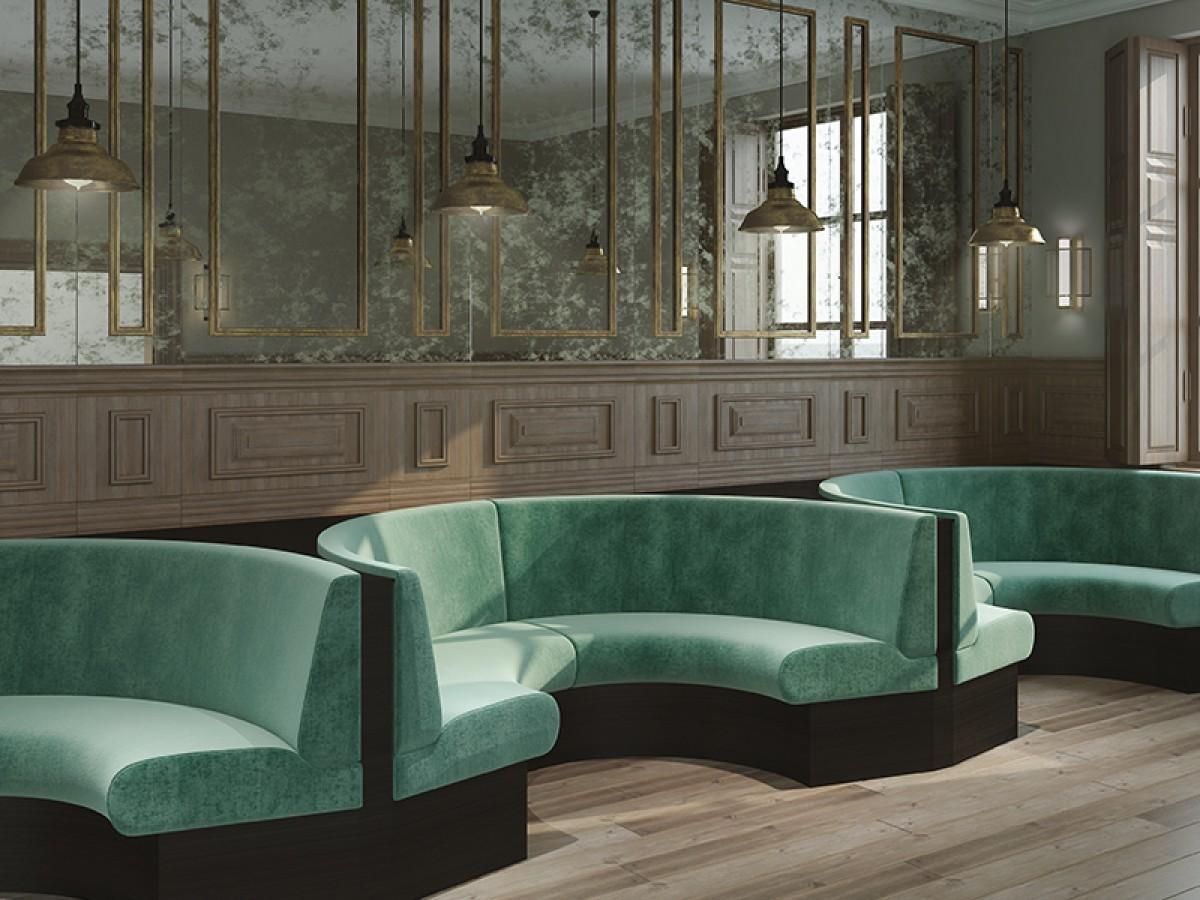 Donald semicircular bench lounge en banken p m furniture horeca meubilair op maat en interieurs - Meubilair loungeeetkamer ...