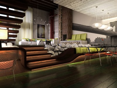 Loft Hotel - 3D render